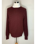 Polo Ralph Lauren Mens 100% Cashmere Cable Knit Sweater Dark Red Crewnec... - $59.95
