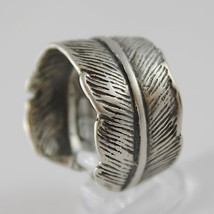 SOLID 925 BURNISHED SILVER BAND RING FEATHER PLUME FINELY WORKED, MADE IN ITALY image 2