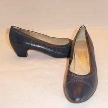 Vintage Salvatore Ferragamo Italy Blue Leather Pumps Shoes sz 9 AA Narrow - $37.09
