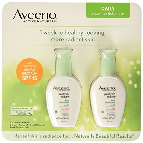 Aveeno Positively Radiant Skin Daily Moisturizer SPF 15, 4 Ounce Pack of 2