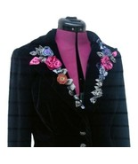 Jackie Jon Black Velvet Blazer Jacket 6 NYE  Ribbon Flowers Floral  - $42.08