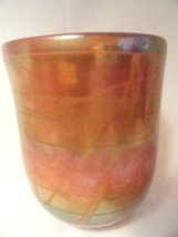 L Chapman Iridescent Studio Art Glass Vase Sign... - $99.99