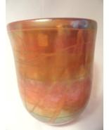 L Chapman Iridescent Studio Art Glass Vase Signed Laguna CA Artist 1973 - $49.99