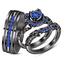 14k Black GP Round Cut Blue Sapphire Trio Ring Set & Free Shipping & Free Gift - $170.30