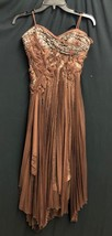 New Bcbg Max Azaria Atelier Dress Gown Brown Embellished Chiffon *0-2 (A#57) - $280.49