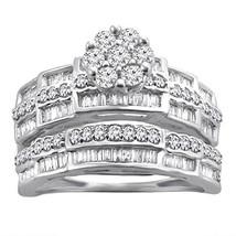 0.79 Ct Round & Baguette Natural Diamond Sterling Silver Engagement Bridal Set - $433.78