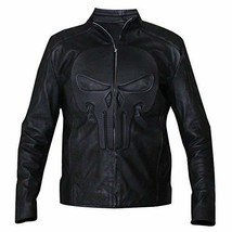 Mens Biker Skull Logo Embossed Black Motorcycle Synthetic Leather Jacket image 1