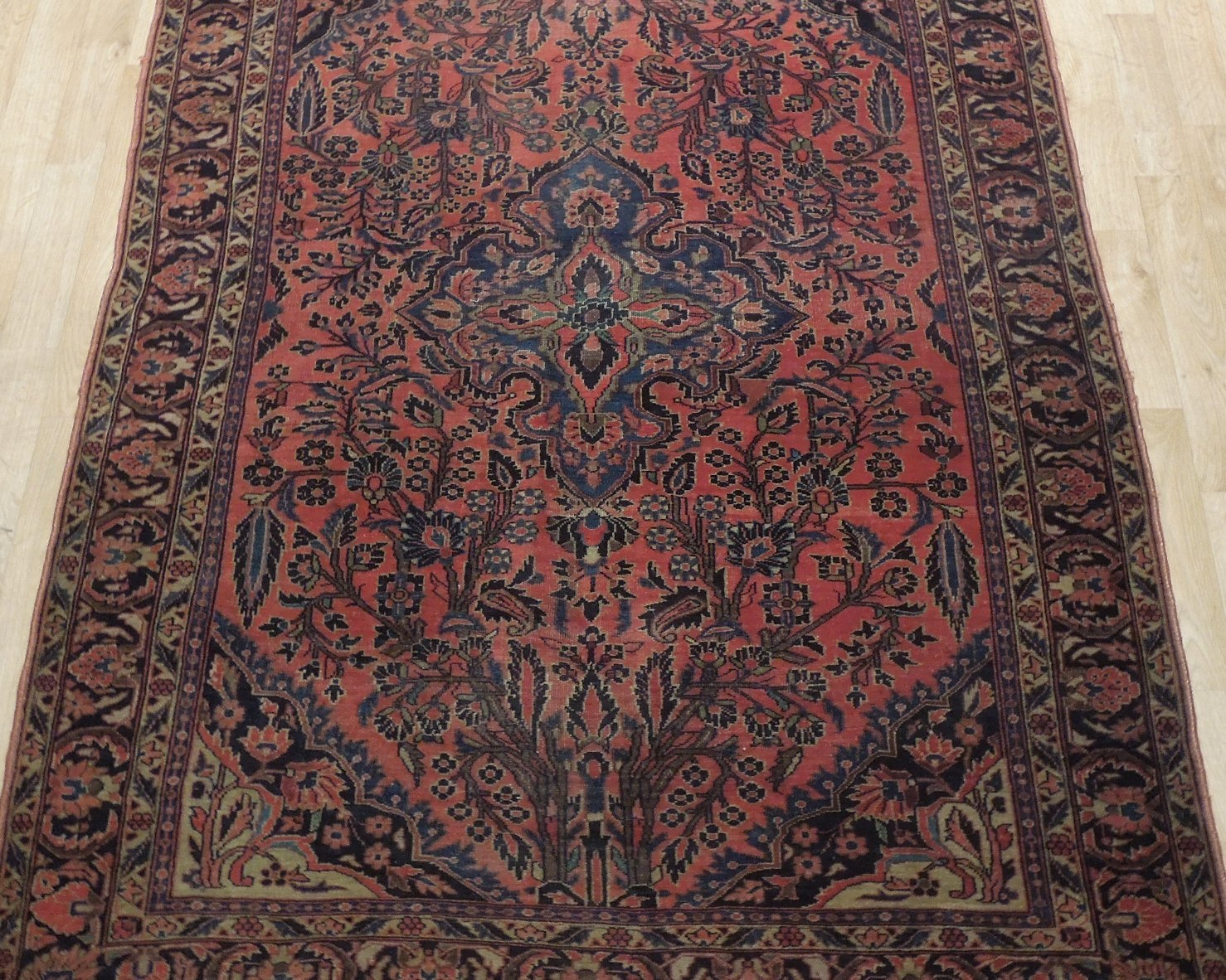 Sarouk Persian Wool Hand-Knotted Rug 5' x 7' Salmon Red Vintage Antique Red Rug image 9