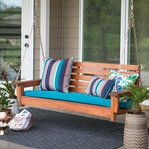 Traditional Red Cedar Finish Wood Slatted 5 Foot Porch Swing Outdoor Fur... - $271.75