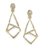 ALEXIS BITTAR GOLD Mosaic Crystal CLIP-on DROP EARRINGS NEW $275 AUTH-GR... - $149.59