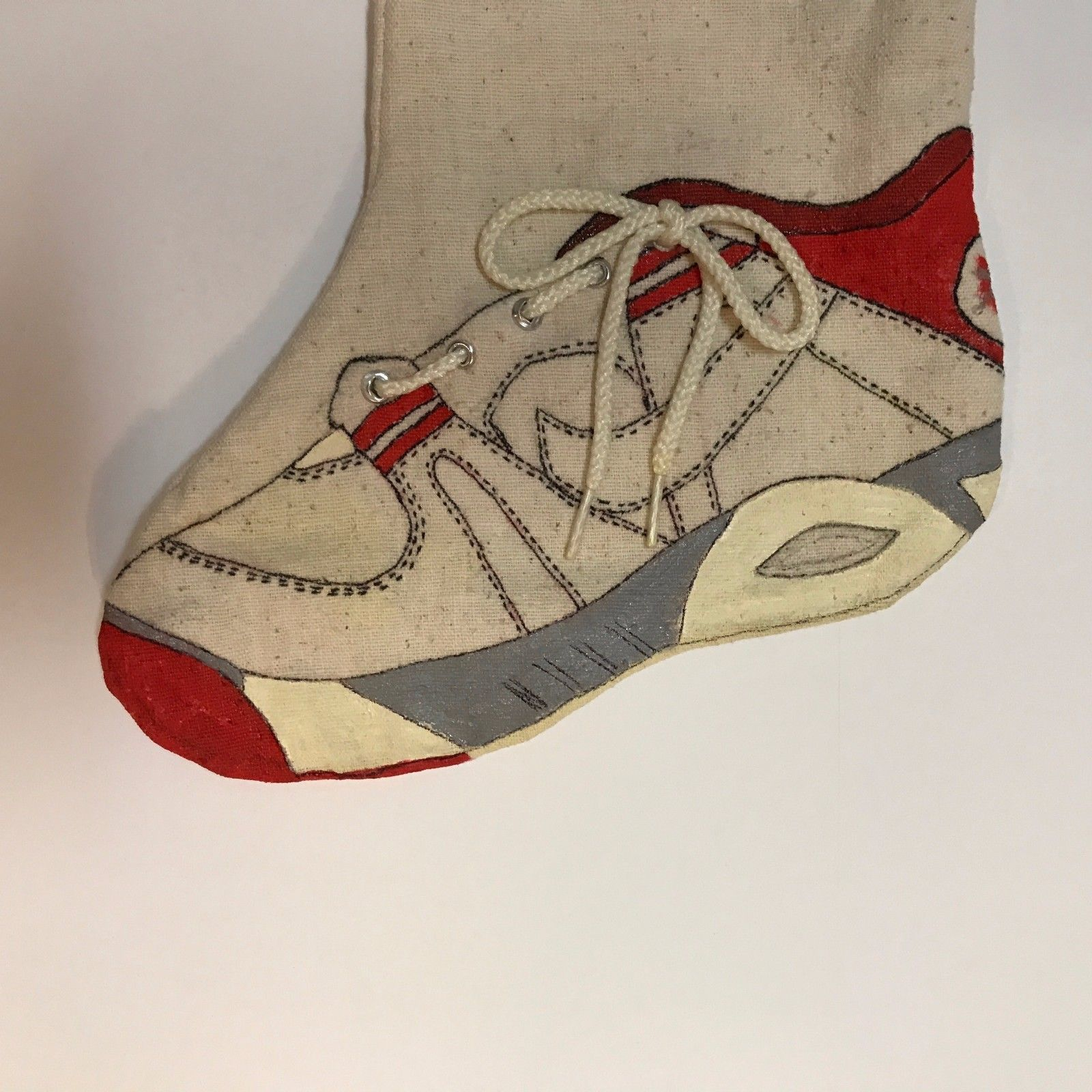 Handmade Christmas Stocking Hand Painted Tennis Shoe on Heavy Natural Muslin