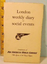 1947 London Weekly Diary Social Events Pan American World Airways Flying... - $9.85