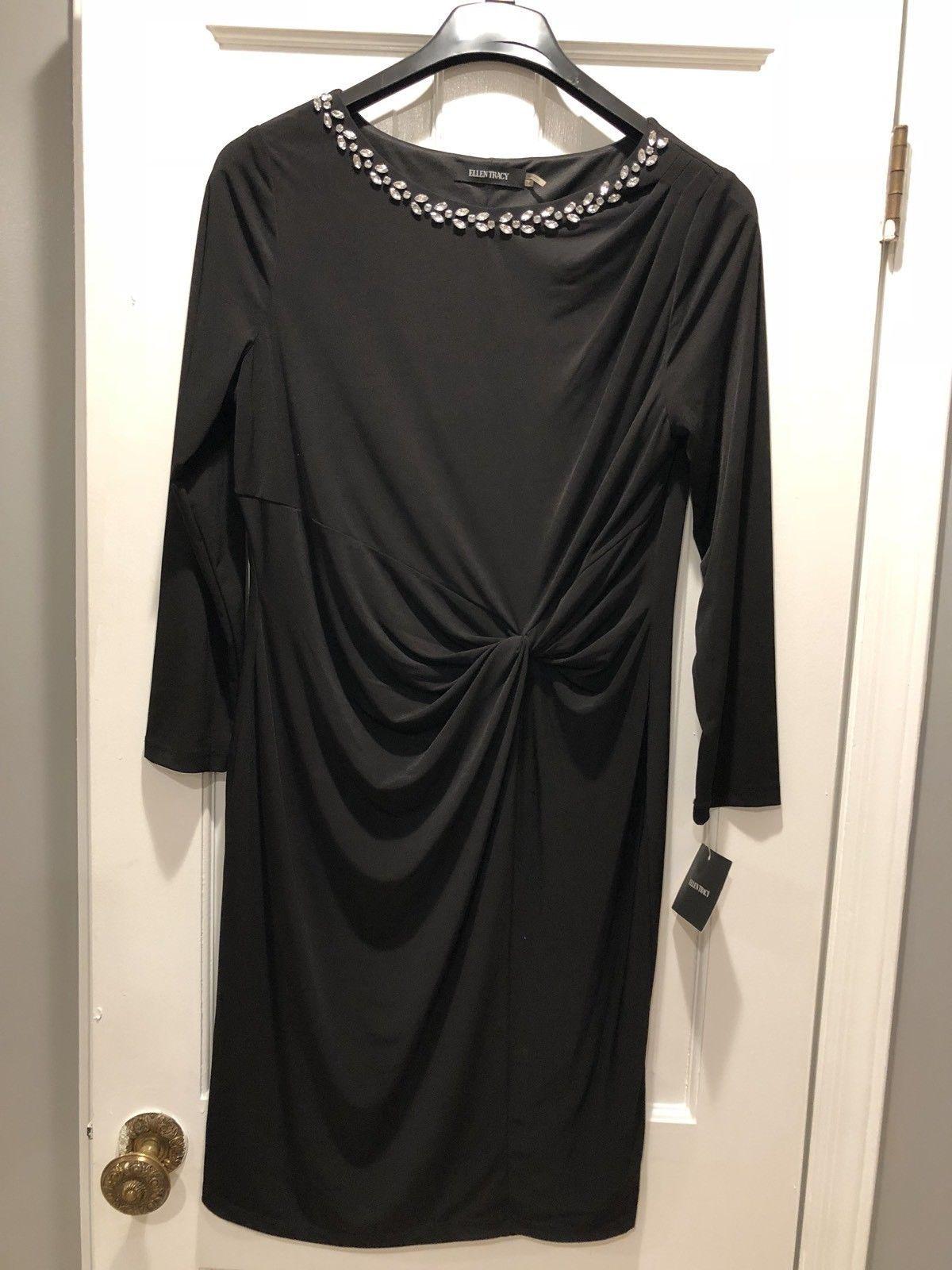ELLEN TRACY 3 WOMEN'S LONG SLEEVE JERSEY DRESS WITH A JEWELED NECKLINE
