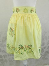 Vintage Half Apron Yellow Embroidered Leaves Thanksgiving Pocket Hand Made - $16.82