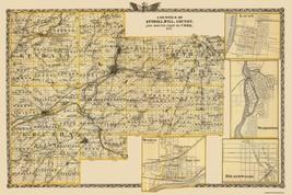 Kendall  Will  Grundy  Cook Illinois Landowner - Warner 1876 - 34x23 - $36.95+