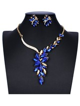3 Pcs Women's Necklace & Earrings Set Flower Design Contrast Color Elega... - $13.99
