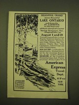 1918 American Express Travel Department Ad - Delightful cruises across  - $14.99