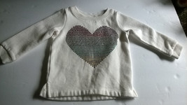 Carters Sequin Heart Cream Pullover Sweatshirt 12 Months Girls - $6.92