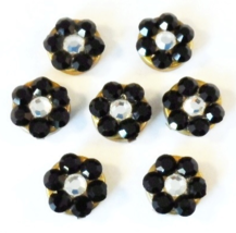Vintage Flower Black White Snap On Button Covers 6pc Set - $24.00