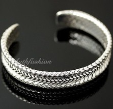 Mens Sterling Silver Bracelet Woven Braided Bangle Cuff Handcrafted Hip ... - $229.58