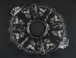 "Fostoria Midnight Rose Etch Cake Plate, Vintage Elegant Baroque Shape 12 1/2"" - $19.60"
