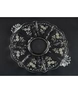 Fostoria Midnight Rose Etch Cake Plate, Vintage Elegant Baroque Shape 12... - $19.60