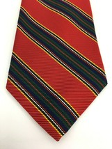 Brooks Brothers Makers Mens Neck Tie Red Green Yellow Navy Stripe - $22.91