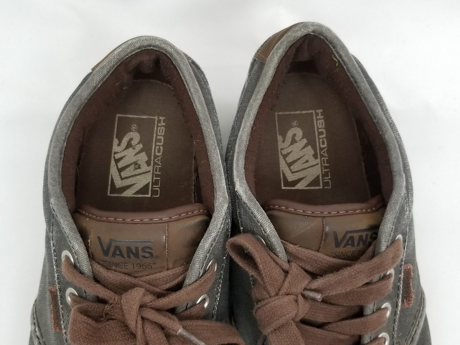 Mens Size 10 Gray Brown Vans Sneakers Shoes Lace Up 721356 image 4