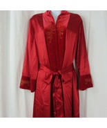 Vintage Morgan Taylor Intimates Long Red Dressing Robe Embroidery Velour Trim - $207.85