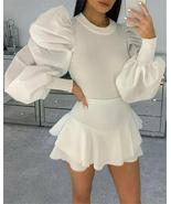 Imcute Womens Blouse Fashion Turtle Neck Ribbed Shirt Tops Tees Puff Mes... - $18.05
