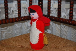 Vintage Red Riding Hood Doll Hand Knitted East Germany - $83.60