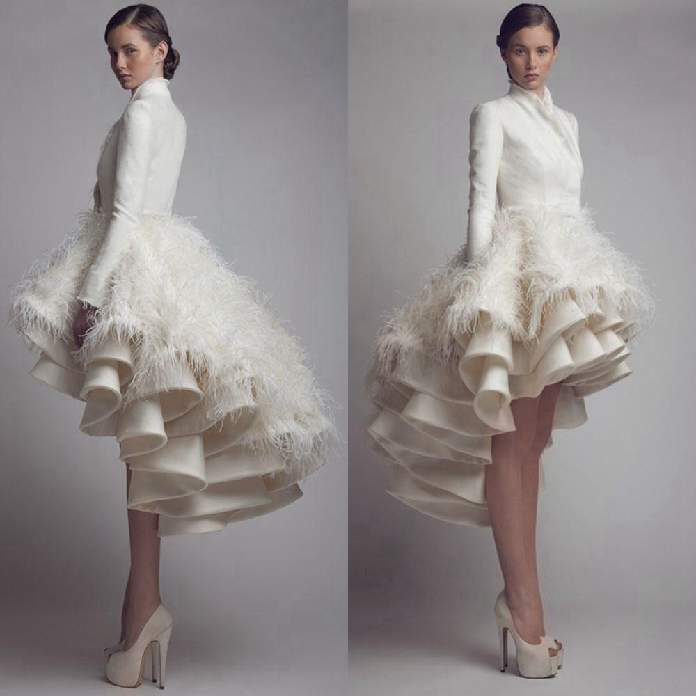 b337fb67ff 309. 309. Previous. High Low Wedding Dresses High Collar Feather Long  Sleeve Bridal Gowns Plus Size
