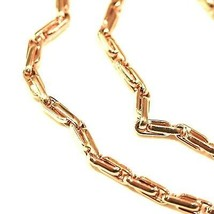 18K YELLOW GOLD CHAIN ALTERNATE OVALS 4 MM, 24 INCHES, SQUARED TUBE NECKLACE image 2