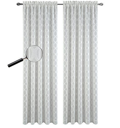 Urbanest 54-inch by 84-inch Napa Set of 2 Sheer Curtain Drapery Panels, Off Whit