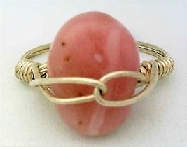 Pink Opal Gemstone Bead Silver Wire Wrap Ring sz 7 - $10.08
