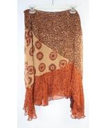 New York City Design Co 100% Silk Animal Print Flare Skirt Brown Womens 10 - $29.69