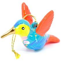 Handcrafted Painted Ceramic Blue Hummingbird Confetti Ornament Made in Peru image 2