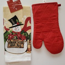 SNOWMAN TAPESTRY KITCHEN SET 2pc Christmas Towel Oven Mitt Winter Holiday image 2