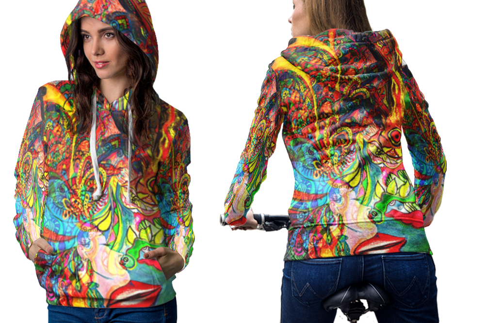 Psychedelic face sexy trippy tongue dmt hoodie women