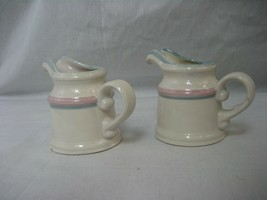 Vintage Set of 2 Cream Pitchers White with Pink and Blue Trim - $11.26