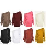 Womens PLUS SIZE Batwing Top Plain Long Sleeve Off Shoulder Big Size Tsh... - $17.50