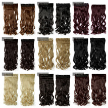 Curly Synthetic Long Clip in Hair Extension Half Full Head Real Natural ... - $13.29+