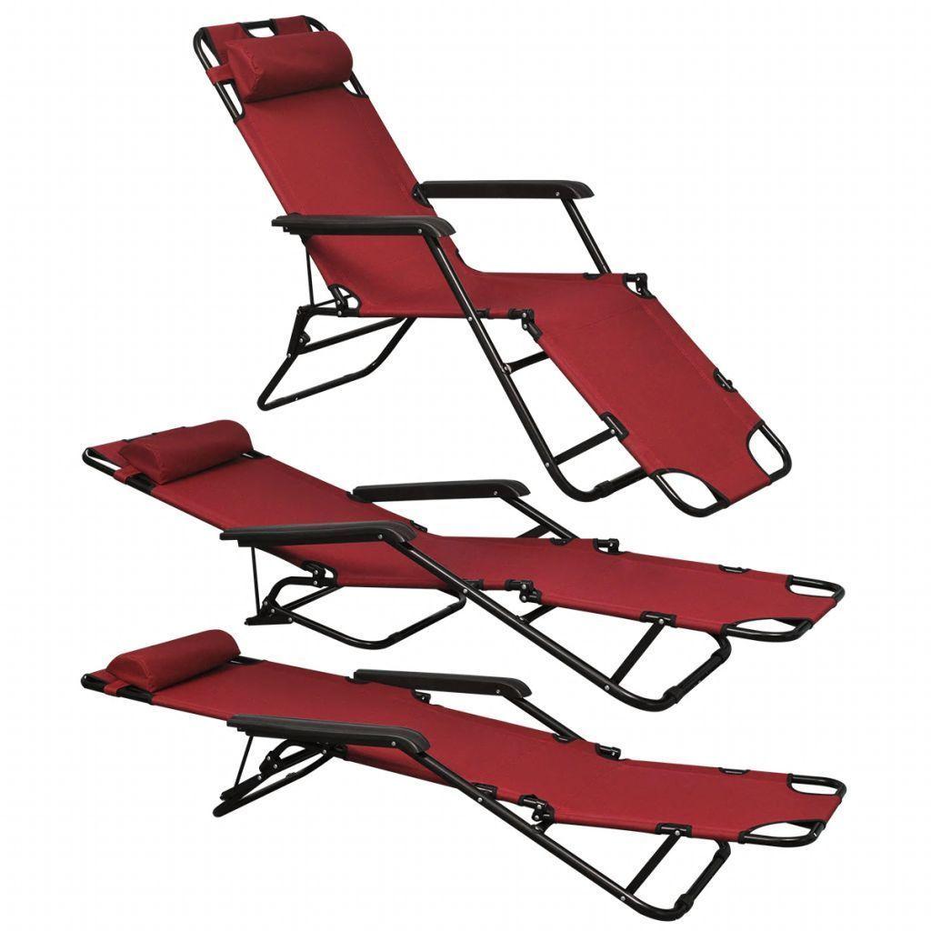 vidaXL 2x Folding Sun Loungers Reclining Chairs 3 Positions Sunbeds 3 Colors image 12