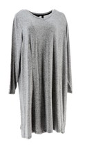 H Halston Petite Super Soft Knit V-neck A-line Dress Black P3X NEW A294237 - $18.79