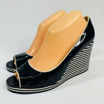 Michael Kors Women's size 8.5M Navy Blue Stripe Patent Leather Nautical ... - $32.91