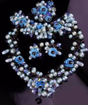 Statement parure / DRAMATIC Necklace / blue flower bracelet / japanned earrings  - $550.00