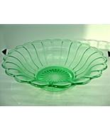 Green vaseline glass fruit bowl in the ribbon pattern. - $23.38