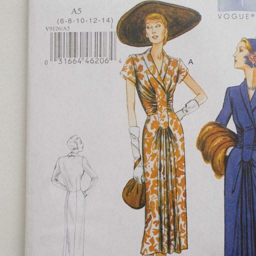Vogue V9126 Vintage Model Dress Pattern 1947 Design Size A5 6-14 image 2