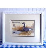 Framed Print Canada Goose Postage Stamp 1980s Bird Print Wood Frame Glas... - $38.00