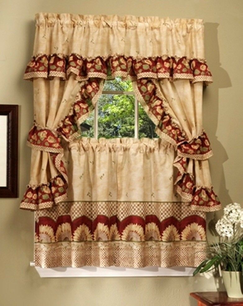 "Primary image for Kitchen Curtains Set: 2 Tiers (57"" x 36"") & Swag (57"" x 30"") SUNFLOWERS by Achim"